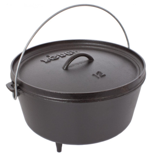 Lodge Seasoned Cast Iron Deep Camp Dutch Oven - 12 Inch 8 Quart