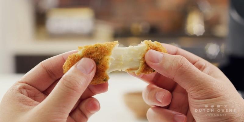 breaded mozzarella in Cosori Air Fryer